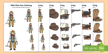 Wild West Size Ordering -  - wild west Size Ordering Activity - cowboy size ordering, size ordering activity, cut out food, size