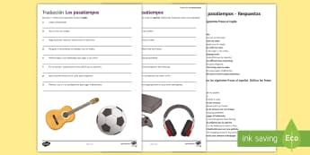 Hobbies Translation Activity Sheet Spanish - sentences, free, time, worksheet, translating, sports