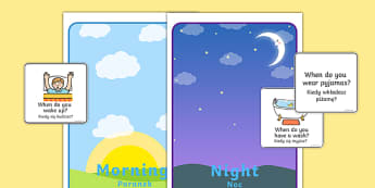 Morning And Night Sorting Activity Polish Translation - Morning And Night Sorting Activity Image And Word Cards - sort, nigt, sen, daytime, different time, early, late, morning, evening, start, end, special educational needs, select, order, group,