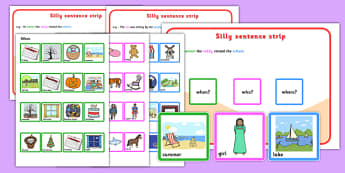 Who Where When Silly Sentences - question words, question, games