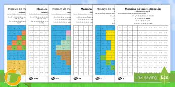 Fichas de actividad de atención a la diversidad: Mosaico de multiplicación - Verano - multiplicar, mates, matemáticas, multiplciación, tablas de multiplicar, tabla de multiplicar, vera