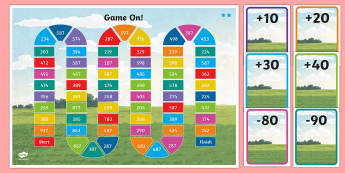 Three-Digit Numbers and Tens, Crossing the Hundreds Boundary Board Game - Addition and Subtraction, Add, more, plus, and, altogether, total, equal to, equals, count on, subtr