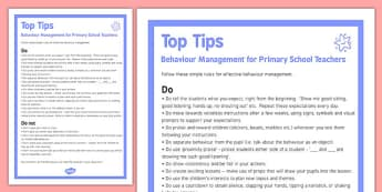 Behaviour Management Tips For Primary Teachers - behaviour, management, tips, primary teachers