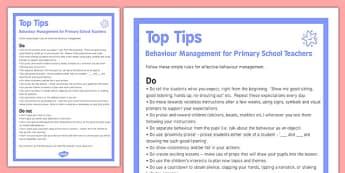 Behaviour Management Tips For Primary Teachers - behaviour, management, tips, primary teachers