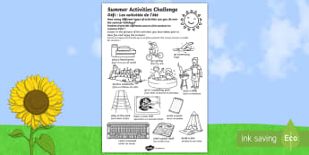Summer Holiday Challenges Activity Sheet English/French - summer, holidays, summer holidays, activities, games, ideas, challenges, homework, homework, home le