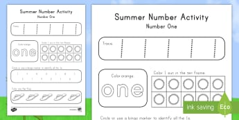 Summer Math Number One Activity Sheet - Summer, summer season, first day of summer, summer vacation, summertime, number recognition, number