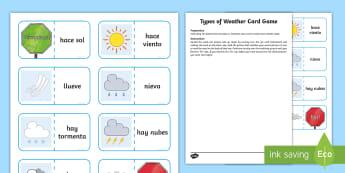 Types of Weather Card Game Spanish - Spanish games, Spanish weather, Spanish activities, Self-correcting games,Scottish-translation