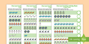 Space Themed One Less Counting Activity Sheet English/Polish - Space Themed One Less Counting Worksheet -maths, numeracy, KS1, key stage 1, counting, numbers, subt