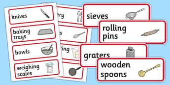 Cooking Utensils Labels - cooking, utensils, labels, cook, food, spoon, knife, fork, bowl, pot