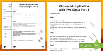 KS2 Chinese Multiplication with Two Digits Part 1 Activity Sheet - KS2, multiplication, visual learners, SEN, Chinese multiplication, rods, sticks, lines, parallel lin