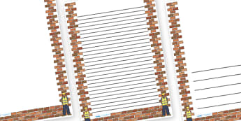 Builder Brick Wall Page Borders - bulding, brick, wall, construction, houses, builder, build, page border, border, writing template, writing aid, writing