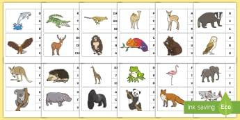 Marcheză litera corespunzătoare primului sunet: Animale sălbatice Activitate - sunet și litera, sunete și litere, litere, litere de tipar, activități, jocuri, fonetică, Roman
