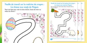 Feuille de travail sur la maîtrise du crayon : La chasse aux oeufs de Pâques Easter Hunt Pencil Control Path Worksheets French - french, pencil control