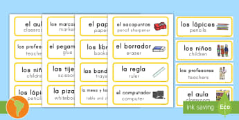 Classroom Word Cards Spanish (Latin)/US English - Classroom Word Cards - classroom, word cards, class, room, cards,kindergarten, spanish, spanish inmm