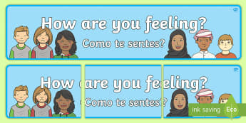 How Are You Feeling Display Banner English/Portuguese  - Emotions, Feelings, All about me, ourselves, feelings self registration, SEN, eal