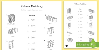Volume Matching Activity Sheet - volume, cubic, cube, rectangular prism, height, length, width
