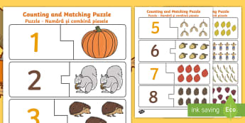 Autumn Themed Counting Puzzle English/Romanian - Autumn Themed Counting Puzzle - seasons, weather, count, maths, EAL