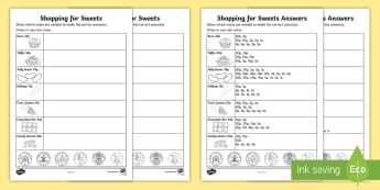 Shopping for Sweets Activity Sheet - NI, KS1, Numeracy, shopping, value, coins, price, money, money handling, worksheet, sweets, change.