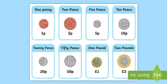 New British (UK) Coins Flashcards - coin, money, money cards