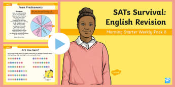 SATs Survival: Year 6 English Revision Morning Starter Weekly PowerPoint Pack 8 - SATs Survival Materials Year 6, SATs, assessment, 2017, English, SPaG, GPS, grammar, punctuation, sp