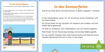 Kommas Einsetzen Aufzählung Thema Sommerferien Arbeitsblatt  - Kommas, Kommasetzung, Sommer, Sommerferien, Grammatik,German
