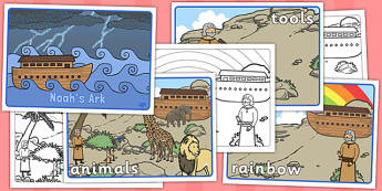 Noah's Ark Visual Aids - Noah's Ark, visual aid, aid, noah, bible story, tools, ark, animals, rain, rainbow, flood, dove, land