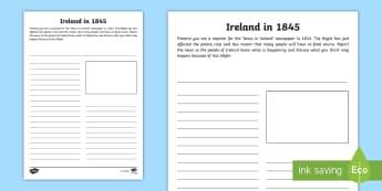Ireland in 1845 Newspaper Activity Sheet - Famine, Starvation, Blight, Death, Emigration,Irish