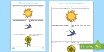 Alles über meinen Sommer Arbeitsblatt - Alles über meinen Sommer, Arbeitsblatt, Sommer, Sommerzeit, Sommerferien, erster Schultag, neues Sc
