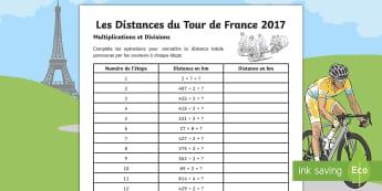 Les Distances du Tour de France Feuille d'activités - Étapes, Longueur, Distance, Calculs, Opérations, Multiplications, Divisions, Mesure, Mathématique