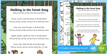 Walking in the Forest Song - Singing, song time, woodland, woods, forest school, trees