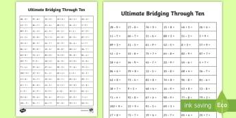 Ultimate KS1 Bridging Through Ten Activity Sheet - Home Education Maths Resources, bridging, ones, tens, Worksheet Keywords, two digit number, year 2 a