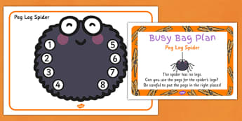 Peg Leg Spider Busy Bag Prompt Card and Resource Pack - matching, counting, skills, maths, KS1, key stage 1