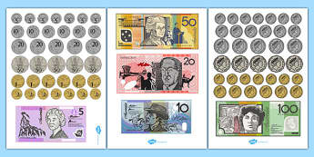 Australian Money Cut Outs - australia, money, cut outs, dollars