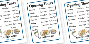 Fish And Chip Shop Role Play Opening Times - Fish and Chip, shop, opening times, sign, poster, fast food, chip butty, food, eating, English, haddock, cod, mushy peas