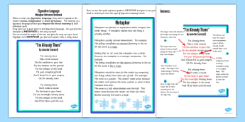 Y5 6 Figurative Language Activity and Reference Sheet Metaphor