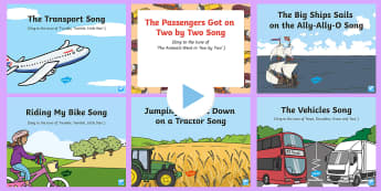 Transport and Travel Songs and Rhymes PowerPoints Pack - Transport and Travel, car, boat, train, vehicles, singing, song time, travel, transport, ship, bus,