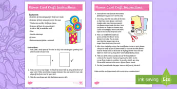 Flower Card Craft Instructions - Mother's Day, Mother's Day, mother, card, craft, art, Kandinsky, flower, shapes.