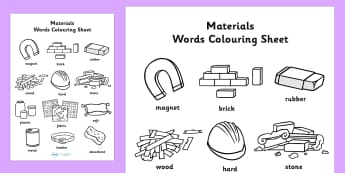 Materials Words Colouring Sheet - materials, colouring, colours