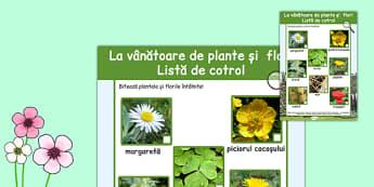 La vanatoare de plante si flori, Lista de control - primavara