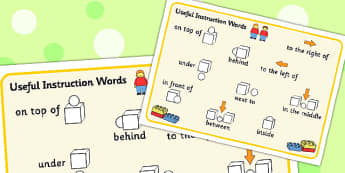 Building Bricks Useful Instruction Words Mat - building bricks, words