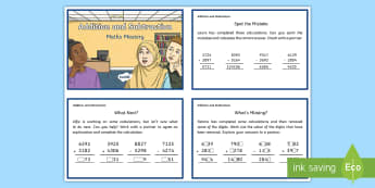Year 4 Add and Subtract Maths Mystery Challenge Cards - Year 4 Add and Subtract Maths Mystery Challenge Cards - Reasoning, Abstract, Probelm Solving, Explan