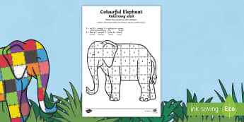 Elmer Colour by Number Sheet Polish Translation - polish, elmer, colour, number, sheet, story