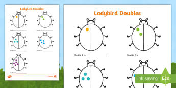 Ladybird Doubles to 10 Activity Sheet - doubles, doubling, double, worksheet, ladybirds, ladybirds doubles