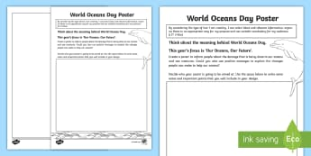 World Ocean Day Design a Poster Activity Sheet-Scottish - CfE World Oceans Day (8th June), Oceans Day, National Days, Global Days, Scottish events, yearly eve