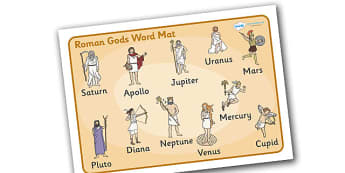 Roman Gods Word Mat - Romans, Rome, Roman Empire, colosseum, word mat, writing aid, mat, pantheon, Julius Caesar, emperor, gladiator, amphitheatre