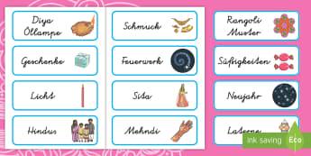 Diwali Wort- und Bildkarten - Divalie, Religion, Hinduismus, Hindus, Lichterfest, ,German