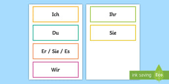 Personal Pronouns Word Cards German - Personal pronouns, Personalpronomen, German, KS2, Grammar, MFL, vocabulary, word cards