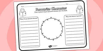 Favourite Character Reading Comprehension Activity - favourite character, comprehension, comprehension worksheet, character, discussion prompt, class discussion