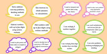 Year 4 Maths Assessment Targets on Speech Bubbles - maths, target
