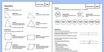 Geometry Support Sheet - geometry, support sheet, support, sheet, ks3, maths